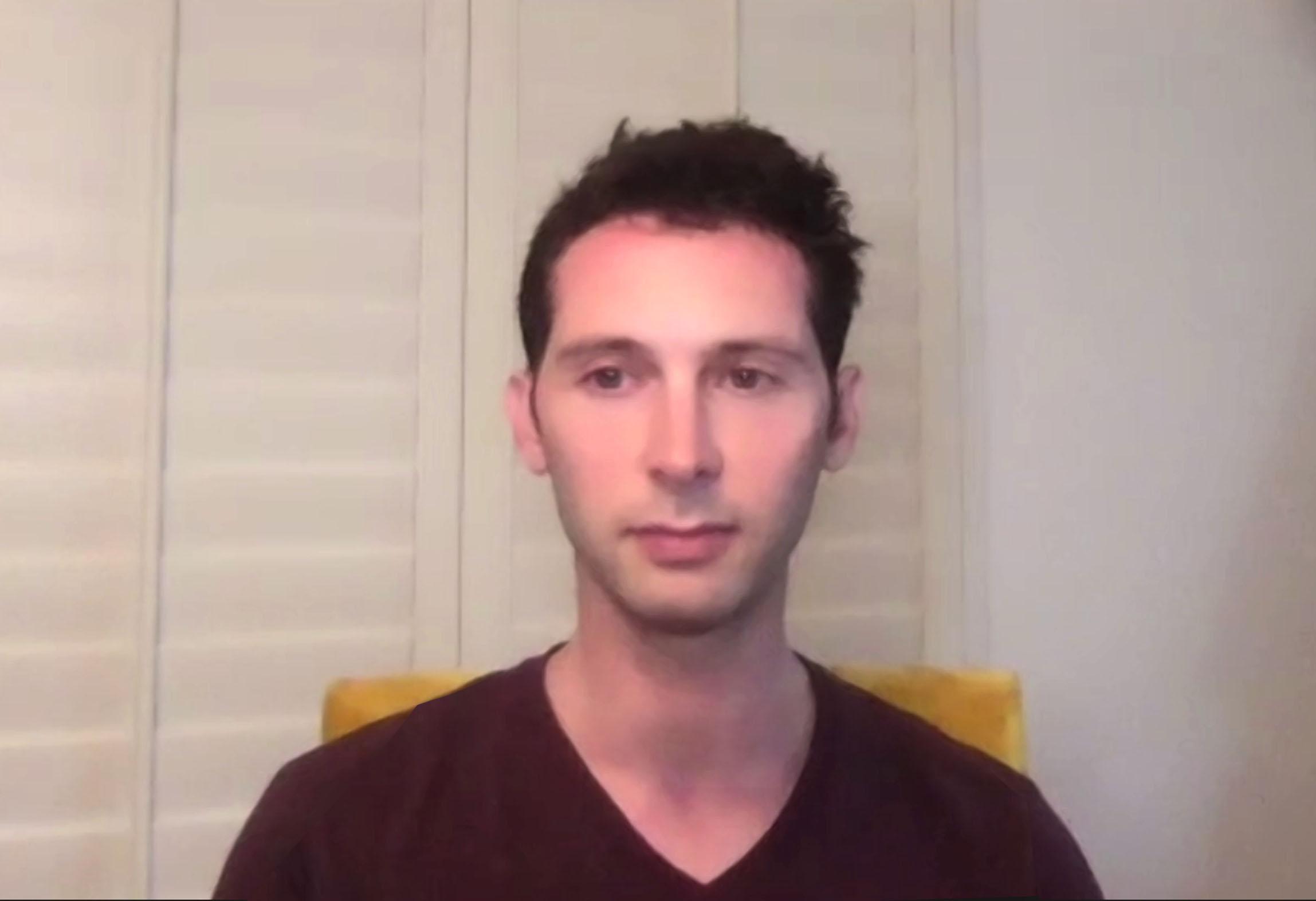 Justin Berfield (Reese) lors des retrouvailles en ligne pour les 20 ans de la série, le 8 août 2020.