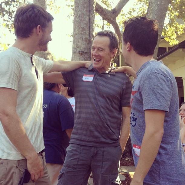 Christopher Masterson, Bryan Cranston et Frankie Muniz, le 15 septembre 2012.