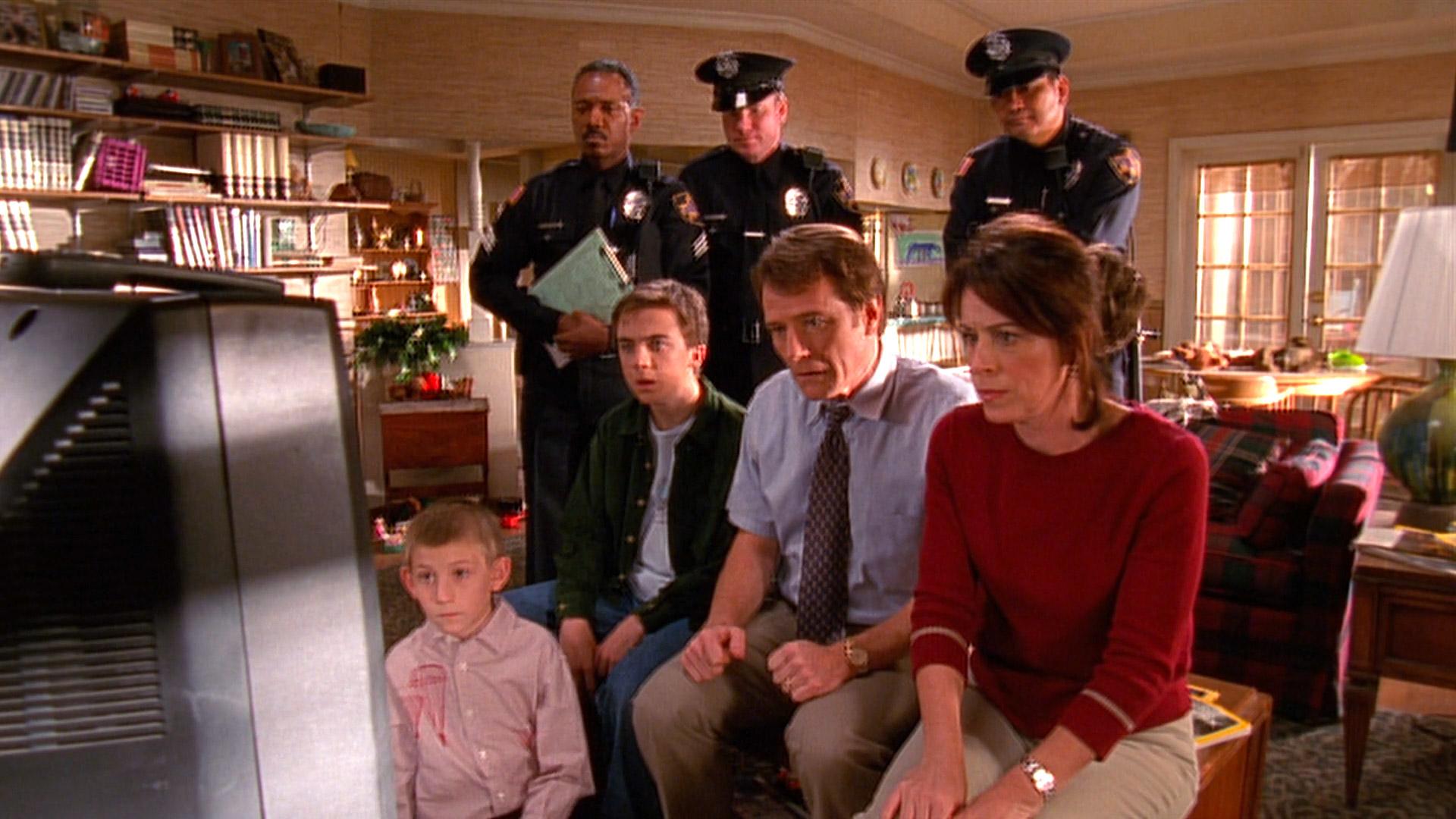 Erik Per Sullivan (Dewey), Frankie Muniz (Malcolm), Bryan Cranston (Hal) et Jane Kaczmarek (Lois) dans