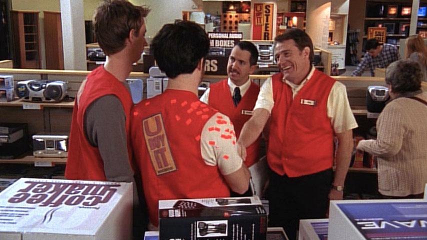 Jeremy Howard (Ethan), Corey Lovett (Seth) et Gregg Binkley(Randy) et Bryan Cranston (Hal) dans