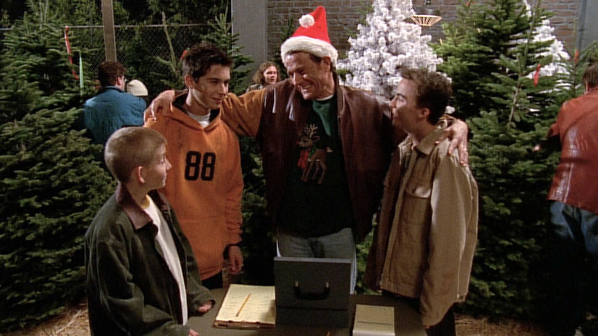 Erik Per Sullivan (Dewey), Justin Berfield (Reese), Bryan Cranston (Hal) et Frankie Muniz (Malcolm) dans