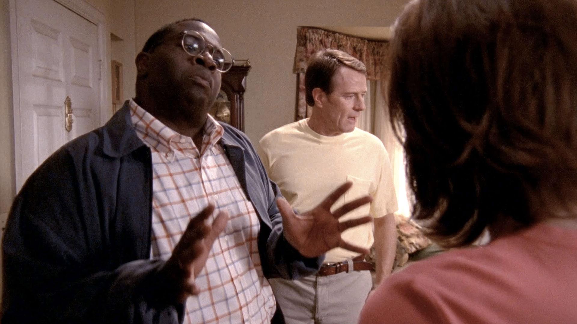 Gary Anthony Williams (Abe Kenarban), Bryan Cranston (Hal) et Jane Kaczmarek (Lois) dans