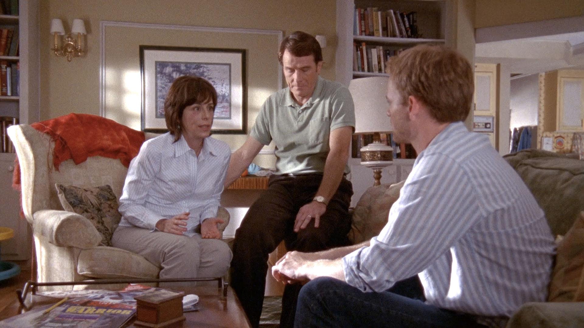 Jane Kaczmarek (Lois), Bryan Cranston (Hal) et Christopher Masterson (Francis) dans