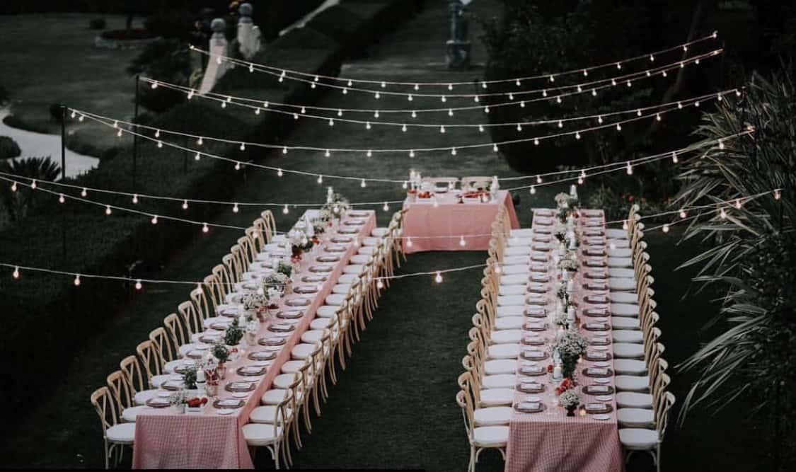 La table de mariage de Christopher Masterson et Yolanda Pecoraro en juin 2019.
